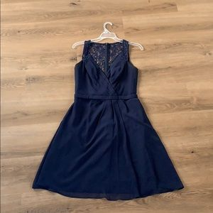 David's Bridal Navy Blue Bridesmaid Dress size 6